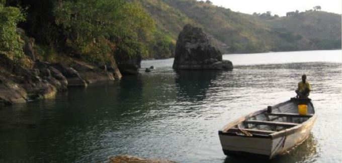 A fisherman in a makeshift boat in Nkhata Bay