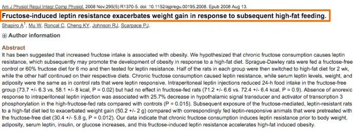 Fructose makes leptin resistance worse