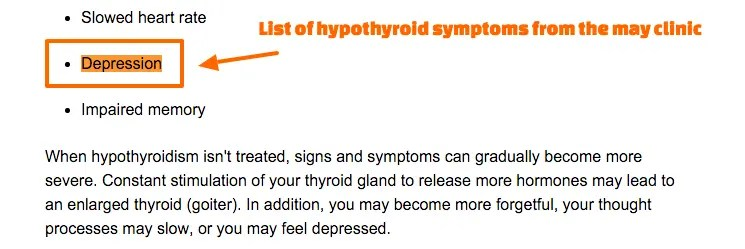 List of hypothyroid symptoms including depression
