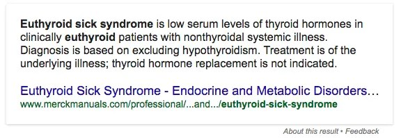 Euthyroid sick syndrome definition