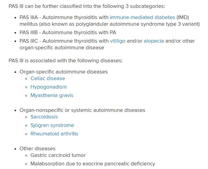 polyglandular autoimmune syndrome type 3