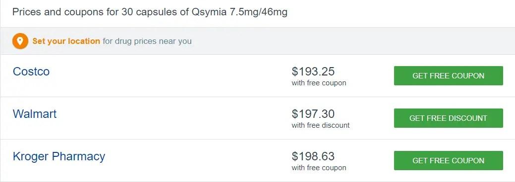 qsymia pricing at pharmacies