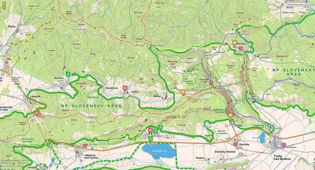 Zádieľska tiesňava- turistické trasy/ cyklotrasy