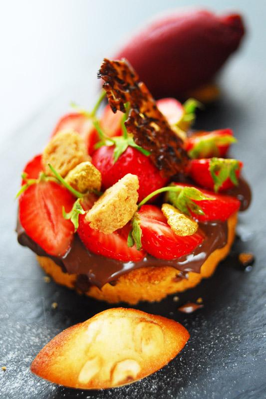 Sablé breton chocolat et fraises de Plougastel