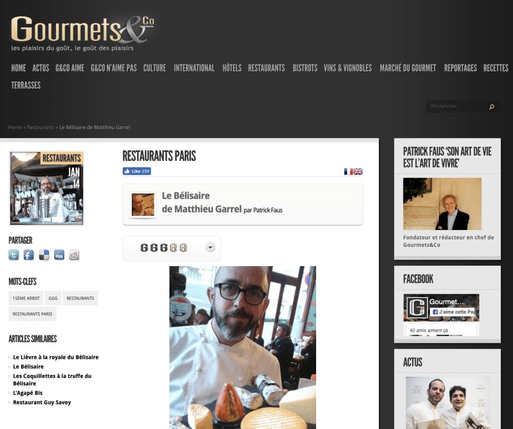 Matthieu Garrel pose pour Gourmet & co