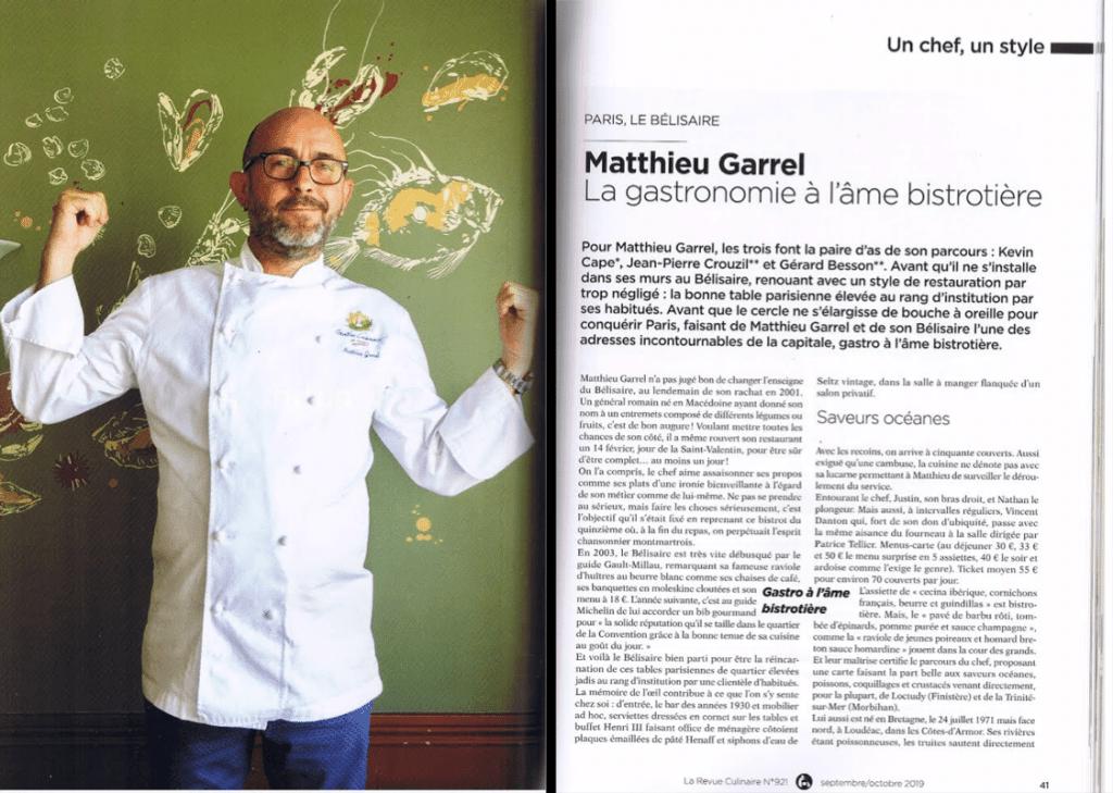 Article paru dans la revue culinaire