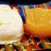 Ingheţată de iaurt cu pepene galben şi sos de vin alb