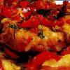 Peşte (cod) cu cartofi şi gogoşari, la cuptor