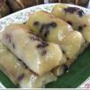 Prăjiturele de orez cu gluten la aburi cu banane – Khao tom mad