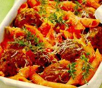 Chifteluţe gratinate cu sos tomat si crustă crocantă