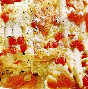 Lasagna cu sparanghel si somon