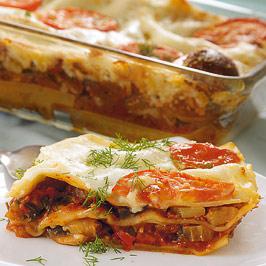 Lasagna cu vinete, dovlecei şi ciuperci