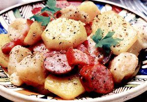 Mancare de cartofi, afumatura si aluat