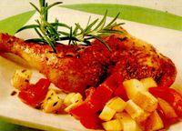 Pulpe de pui cu cartofi si ardei gras