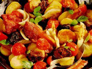 Cartofi la tigaie cu carne de vita