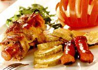 Porc delicios cu cabanos si mozzarella
