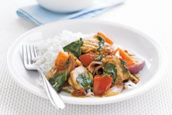 Curry de pui şi cartofi dulci