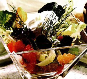 Salată din peşte crud şi spumă de tzatziki
