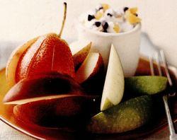Fructe cu cremă de caise si ciocolată