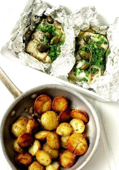 Merluciu inabusit si cartofi soté