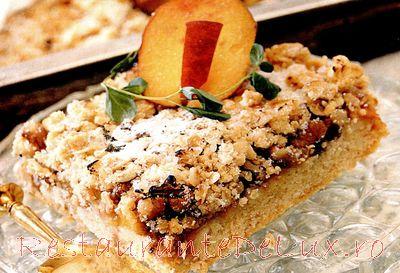 Reteta zilei: Prăjitură crocantă cu piersici