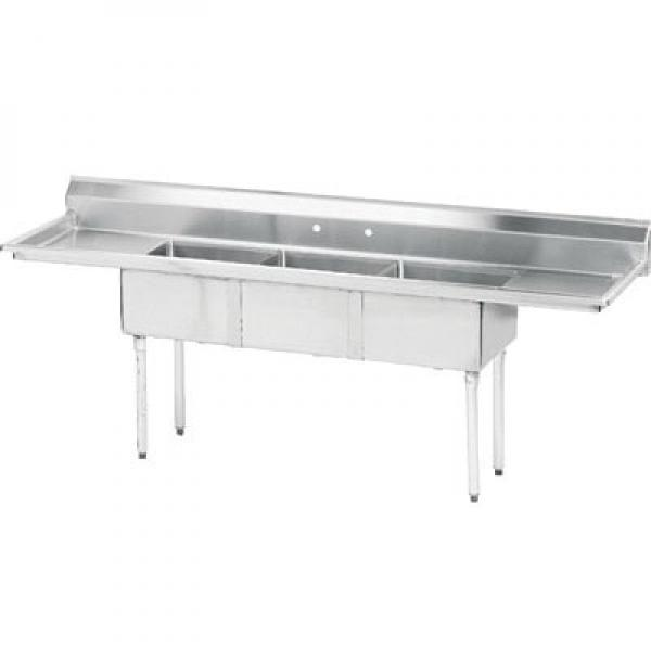 3 compartment sink w 18 right amp left drainboards 18 x 18 sink bowls restaurant equipment solutions