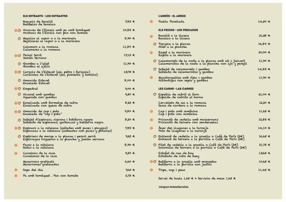 Carta Restaurant Ca L'Estevet. Català Castellano tardor 2016