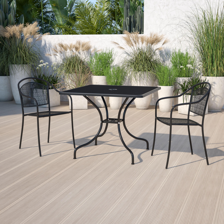 commercial grade 35 5 square black indoor outdoor steel patio table