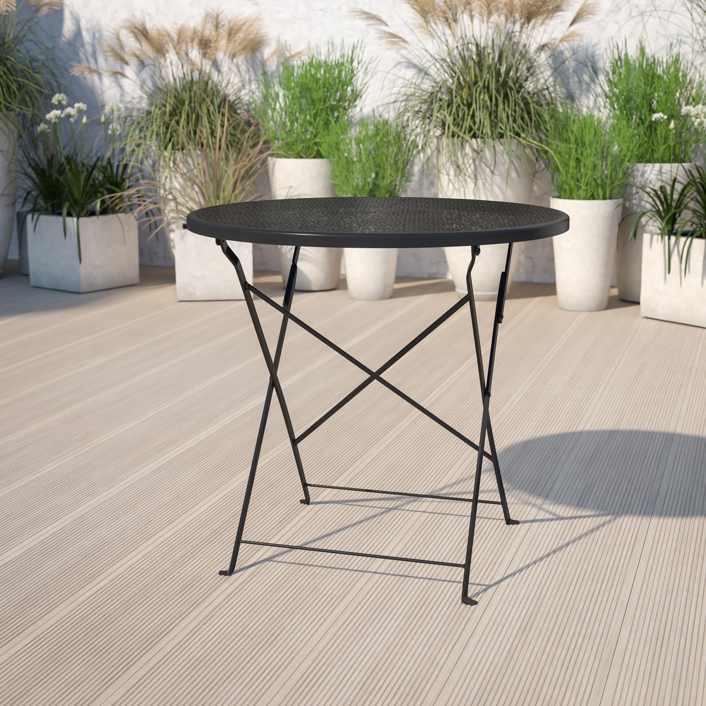 commercial grade 30 round black indoor outdoor steel folding patio table