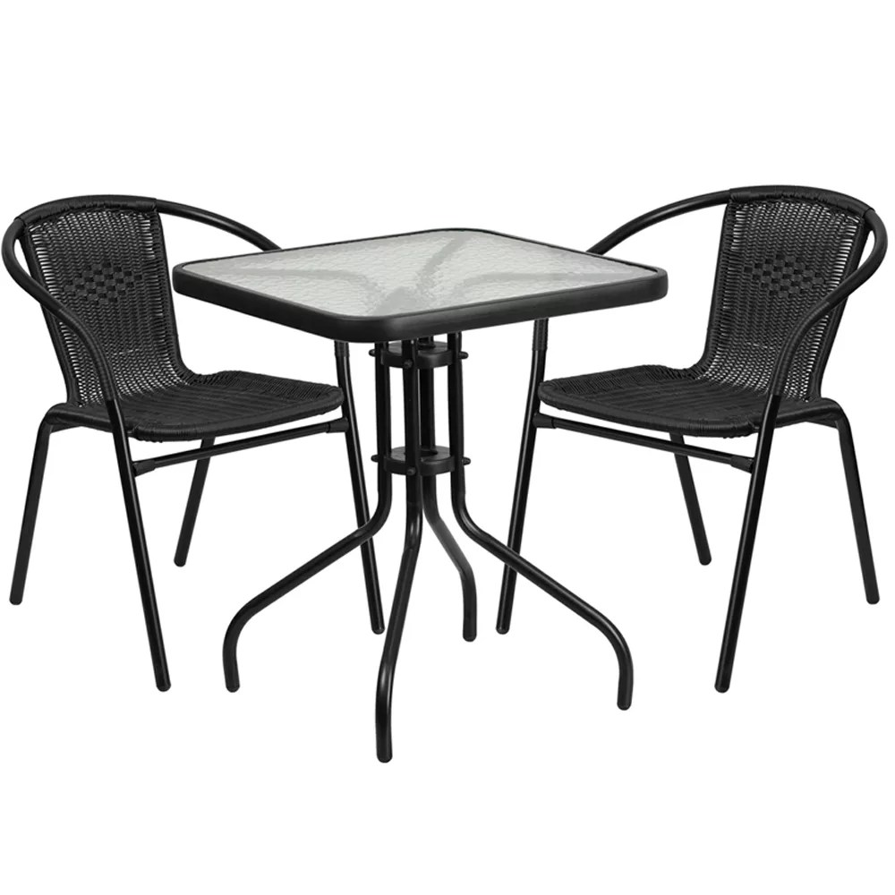 Home / Shop / Tables Under $150.00 / Restaurant Glass Metal Table 23.75u2033  Square With 2 Black Stackable Rattan Chair