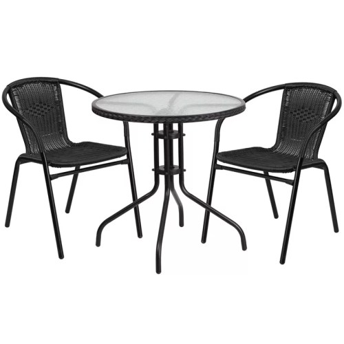 """Restaurant Glass Metal Table 28"""" Round with 2 Black Stackable Rattan Chair"""