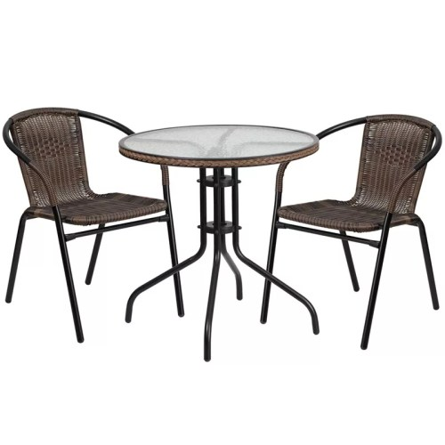 "28"" Round Glass Metal Table with 2 Brown Stackable Rattan Chair"