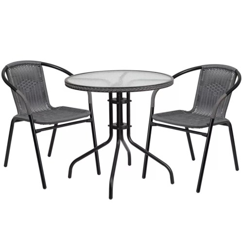 "Restaurant Glass Metal Table 28"" Round with 2 Gray Stackable Rattan Chair"