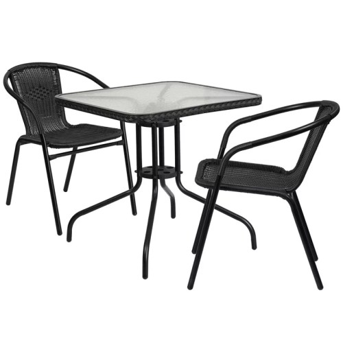 "Restaurant Glass Metal Table 28"" Square with 2 Black Stackable Rattan Chair"