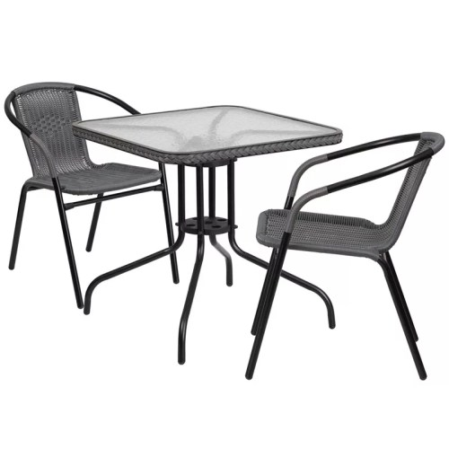 "Restaurant Glass Metal Table 28"" Square with 2 Gray Stackable Rattan Chair"