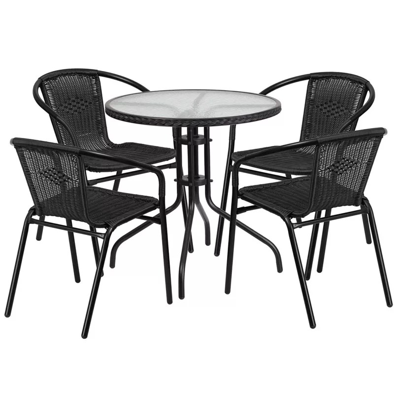 Home / Shop / Table U0026 Chair Sets / Restaurant Glass Metal Table 28u2033 Round  With 4 Black Stackable Rattan Chairs