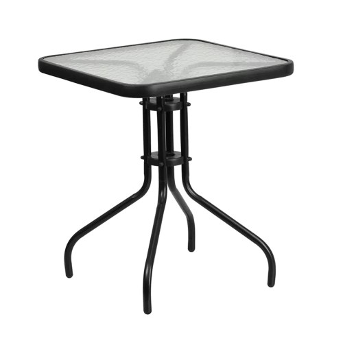 "Restaurant Tempered Glass Metal Table 23.5"" Square"