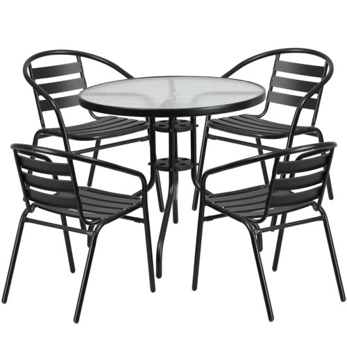 "Restaurant Glass Metal Table 31.5"" Round with 4 Black Stackable Slat Matal Chair"