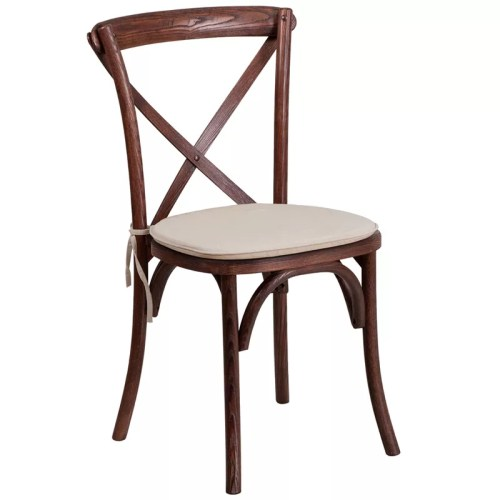 Cross Back Stackable Wood Chair with Padded Seat