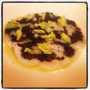Scallop Crudo with Black Truffle Vinaigrette