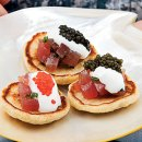 Red White & Bluefin Tuna with Blinis