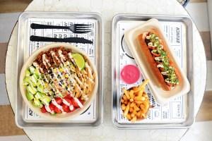 by-chloe-quinoa-taco-salad_pesto-meatball_air-baked-french-fries