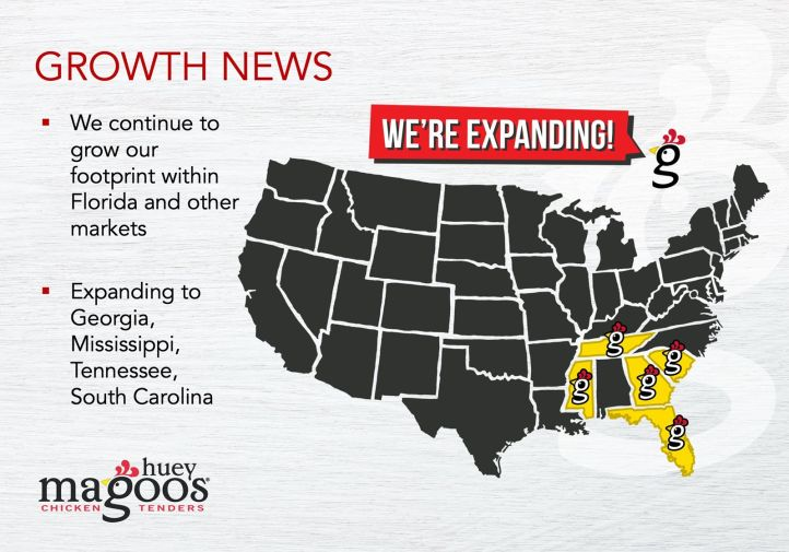 Huey Magoo's Chicken Tenders Announce New Franchises in Tennessee, South Carolina and Georgia and Company-Wide Growth