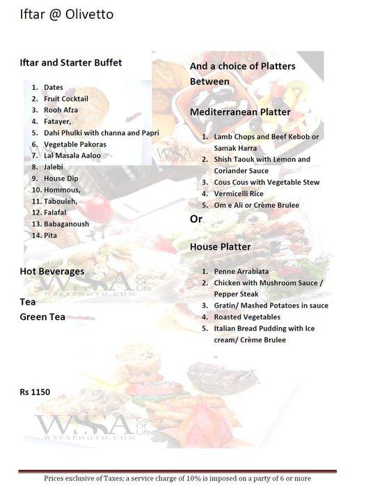 Olivetto iftar menu