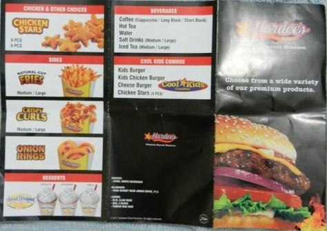 Hardees menu