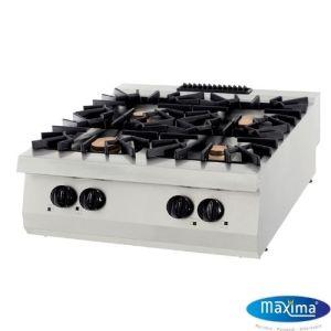 Gass koketopp 4 Bluss - 32KW - B800 x D900 x H280 mm - Maxima