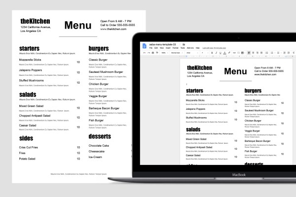 Food Truck Menu Template by Restaurant Spider