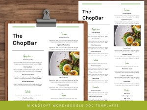 Restaurant Menu Template - Google Docs - Ms Word
