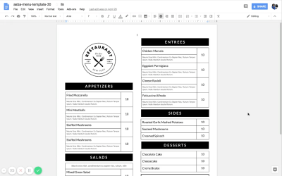 How to start editing your Google Doc menu template
