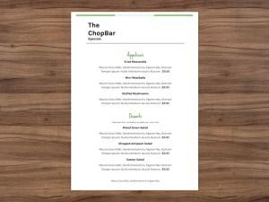 Small menu - 5x7